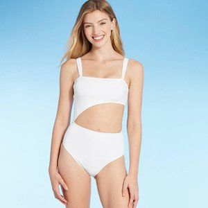 Women's Ribbed Cut Out Swimsuit Size L